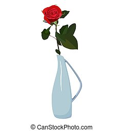 Single red rose in vase vector flat isolated illustration -...