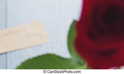 single red roses in glass with valentines day paper card on ...