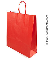 shopping paper bag - Single red shopping paper bag over ...
