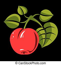 Single red simple vector apple with green leaves, ripe sweet...