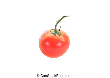 Single Red Tomato Isolated on White Background