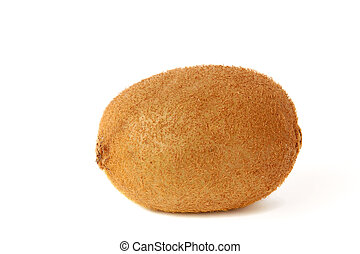 Single ripe kiwi on white background