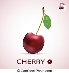 Single Ripe Red Cherry With A Leaf Isolated On A Background.