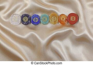Single row of the Seven Major Chakras symbols