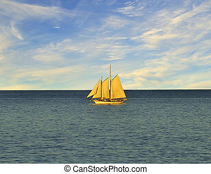 Single sail boat on the lake.