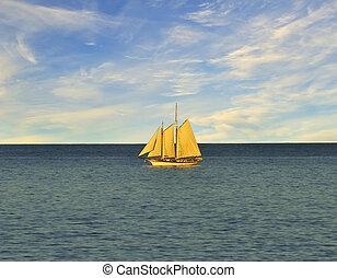 Single sail boat on the lake.