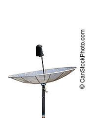 Single satellite dish on white background.