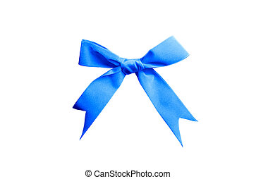 single satin blue bow isolated on white background