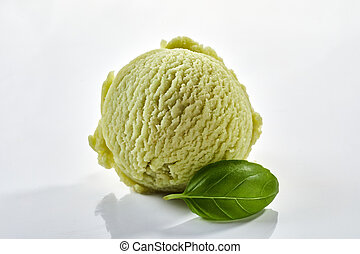 Single scoop of speciality herbal basil ice-cream