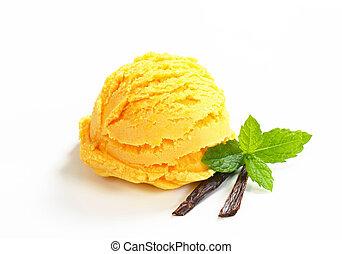 Single scoop of yellow ice cream