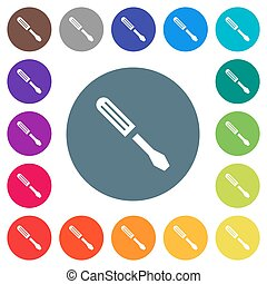 Single screwdriver flat white icons on round color backgrounds