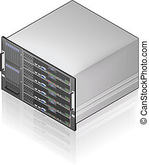 Server Unit - Single Server Unit Isometric 3D Icon (part of...