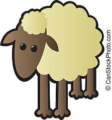 Single Sheep - A single cartoon sheep drawn in a cutesy...