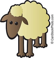 Single Sheep - A single cartoon sheep drawn in a cutesy...