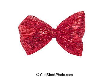 single shiny red bow