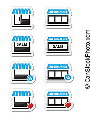 Single shop, supermarket icons - Retail, shopping, buying ...