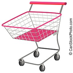 Single shopping cart with wheels