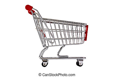 Single shopping trolley isolated