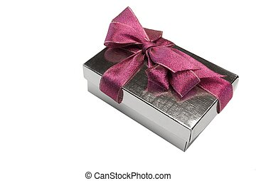 Single Silver Giftbox Tied With Purple Bow Isolated On White
