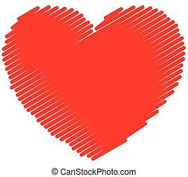 Single sketchy, doodle, scribble heart. vector graphic.