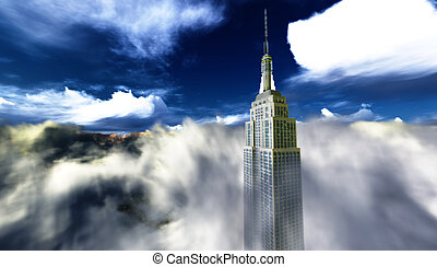 Single skyscraper in the awesome clouds