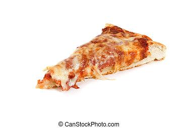 Single slice - A single slice of pizza on a white background