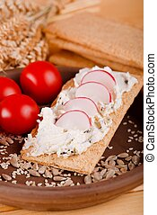 Single slice of crispy bread with curd cheese and radishes