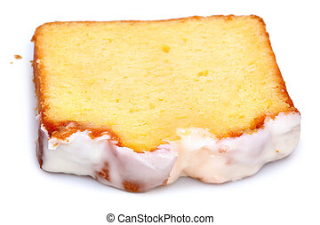 Single Slice of Iced Lemon Coffee Cake Over White