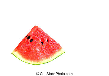 Single slice watermelon on white background.