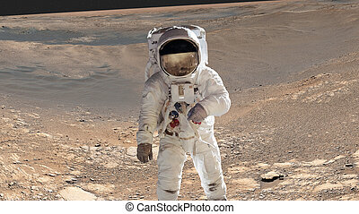Single space Astronaut on the mars surface