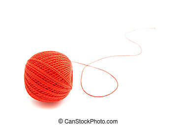 single spool of red thread on white