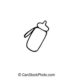 Single sports water bottle icon. Doodle vector graphic