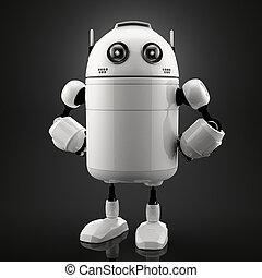 Single standing robot. Black background