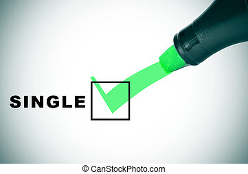 single - a check mark drawn with a green marker pen on a...