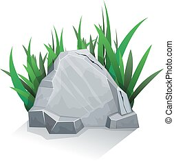 Single stone with grass - Single granite stone with grass. ...
