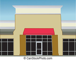 single storefront red awning