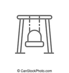 Single swing for playground line icon.