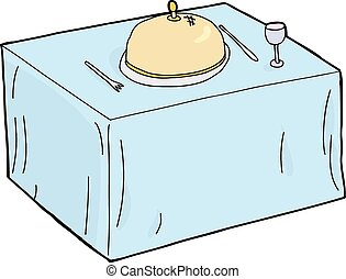 Hand drawn single table setting over white background