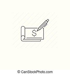 Single thin line symbol of checkbook isolated
