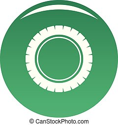 Single tire icon vector green