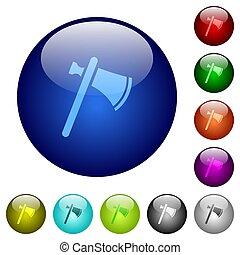 Single tomahawk color glass buttons - Single tomahawk icons...