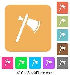 Single tomahawk rounded square flat icons - Single tomahawk...