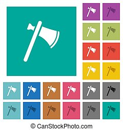 Single tomahawk square flat multi colored icons - Single...