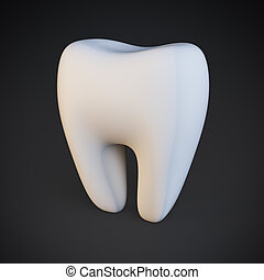 Single tooth - Single white tooth on black background