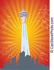 Single Tower Music Celebration Illustration in Vector