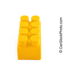 Single toy construction block isolated