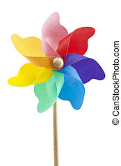 single toy windmill on white background isolated