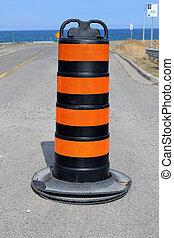 Single traffic pylon.