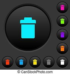 Single trash dark push buttons with color icons - Single...