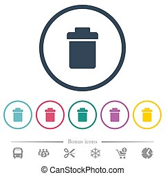 Single trash flat color icons in round outlines. 6 bonus icons included.